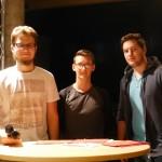 Die Moderatoren (v.l.): Isaak Jürgens (GSG), Tristan Ebbers (KKG) und Robin Pyka (KKG)
