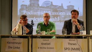 Die Kandidaten der sechs geladenen Parteien in der Aula der GSG Lünen (1)