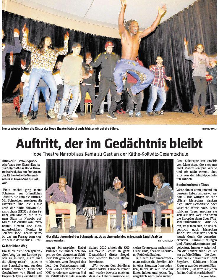 Bericht der Ruhr Nachrichten über das Hope Theatre an der KKG