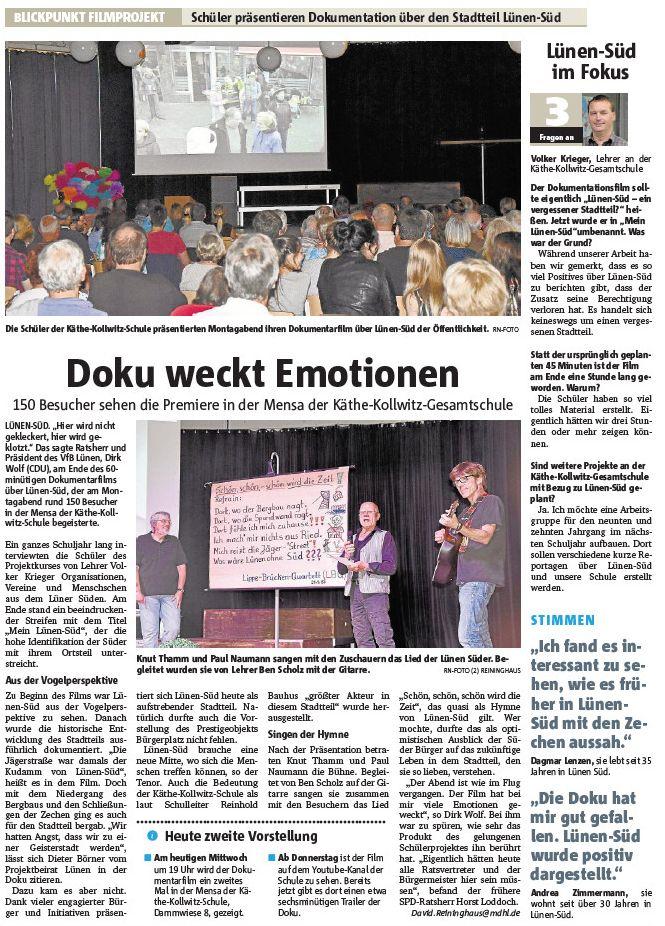 Die Filmpremiere in den Ruhr Nachrichten