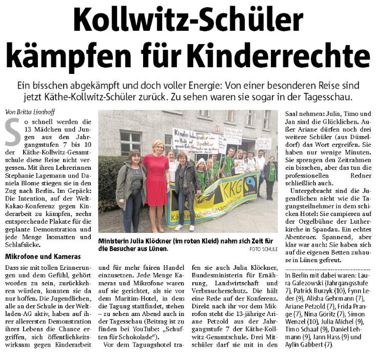 Bericht der Ruhr Nachrichten über unseren Einsatz während der Welt-Kakao-Konferenz