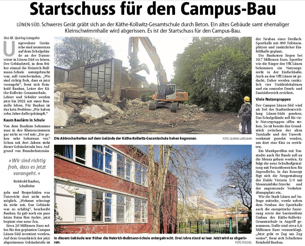 Bericht der Ruhr Nachrichten über den Startschuss für den Campus Lünen-Süd