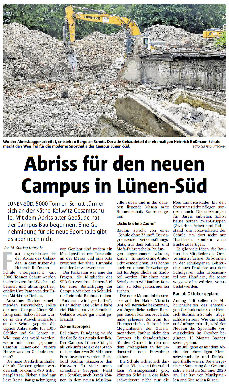 """Aktueller Stand zum """"Campus Lünen-Süd"""" – Bericht der RN"""