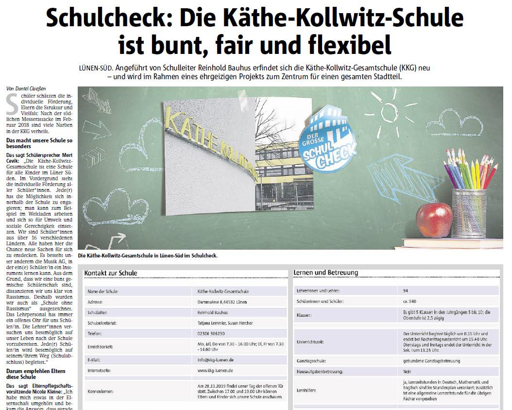 Unsere Schule im Schulcheck der Ruhr Nachrichten