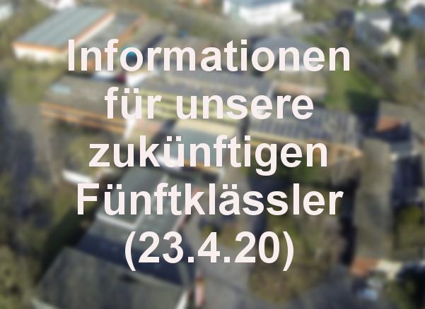 Informationen für unsere zukünftigen Fünftklässler (23.4.)
