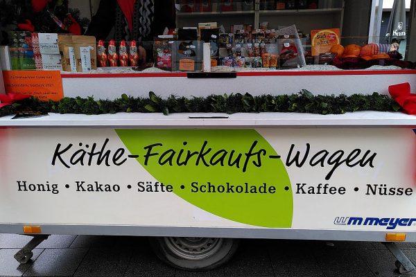 Der Käthe-Fairkaufswagen auf dem Viktualienmarkt Lünen