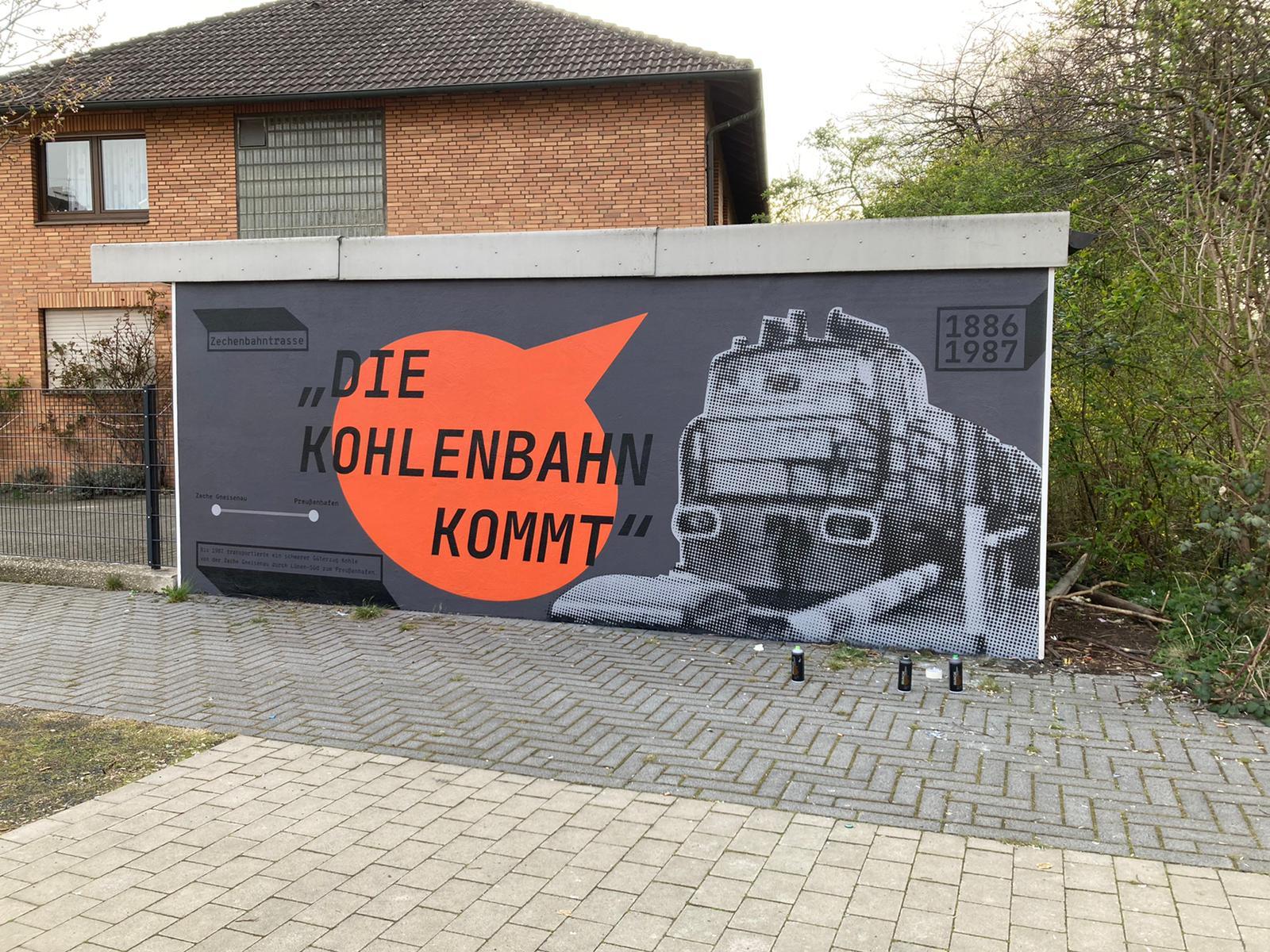 "Erstes Ergebnis des Kunstprojektes ""Urban Art in Lünen-Süd"" am Bürgerplatz sichtbar"